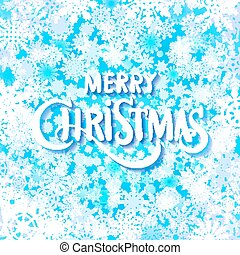 Merry christmas handwritten text on background with snowflakes. Vector illustration EPS10