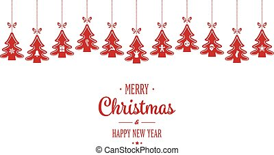 merry christmas hanging red trees isloated background