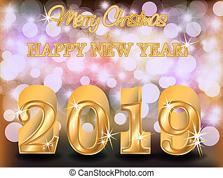 Merry Christmas Happy 2019 New Year golden background, vector illustration