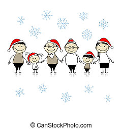 Merry christmas. Happy big family together for your design