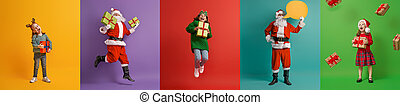 children and Santa Claus on multicolor background.