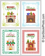 Merry Christmas, Happy Holidays Fireplace Vector