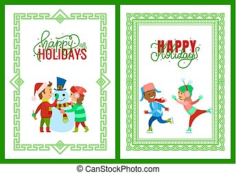 Merry Christmas Happy Holidays Framed Posters