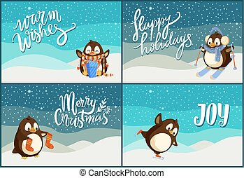 Merry Christmas Happy Holidays Greeting Penguins