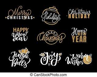 Merry Christmas Happy Holidays Jingle Bell and Joy