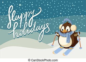 Merry Christmas Happy Holidays Winter Penguin Ski