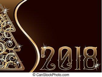 Merry Christmas & Happy new 2018 year wallpaper,  vector illustration