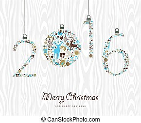 Merry Christmas Happy new year 2016 retro ornament