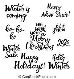Merry Christmas. Happy New Year 2020. Hello winter. Set of festive phrases.