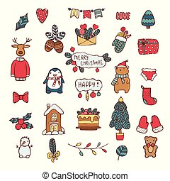 Merry Christmas, Happy New Year cute hand drawn elements. Collection of Holiday items. Trendy minimal design. Ideal for greeting cards, posters, stickers, invitations, gift tags. Vector