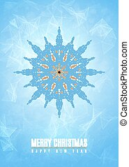 Merry christmas happy new year fancy blue winter snowflake shape in tribal style. EPS10 vector