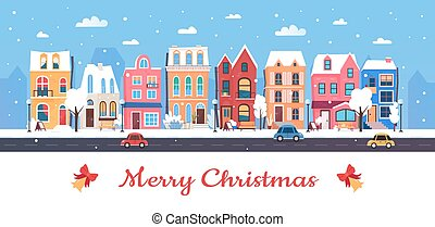 Merry Christmas, Happy New Year in winter city, cartoon ...