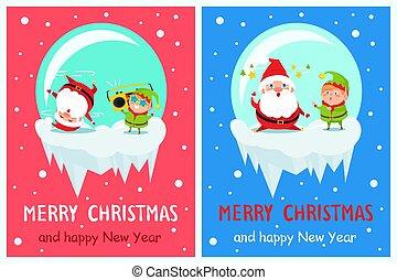 Merry Christmas Happy New Year Poster Elf Santa