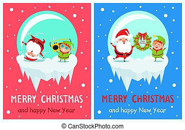 Merry Christmas Happy New Year Poster Elf Santa