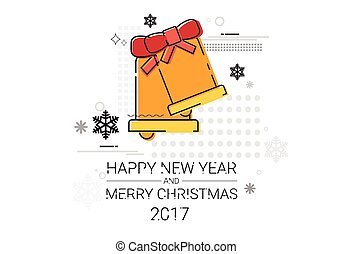 Merry Christmas Happy New Year Simple Line Sketch Banner Card Outline