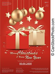 Merry Christmas &?Happy New Year Template background Vector Illustration