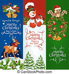Merry Christmas, Happy New Year vector banners