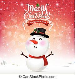 Merry christmas happy snowman cartoon on snow background vector illustration eps10