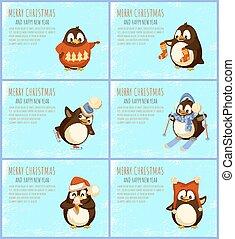 Merry Christmas Happy Winter Holidays Penguin