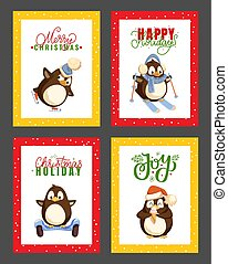 Merry Christmas Happy Winter Holidays Penguins