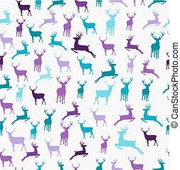 Merry christmas hipster reindeer seamless pattern