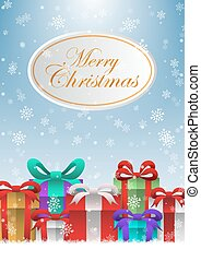 Merry Christmas holiday background with gift boxes
