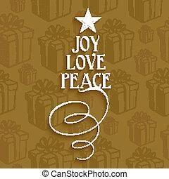 Merry Christmas holiday card - Merry Christmas text tree joy...