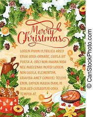 Merry Christmas holiday dinner vector greeting