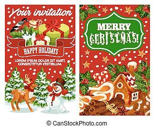 Merry Christmas holiday greeting vector card