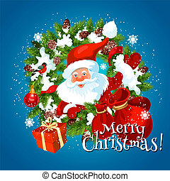 Merry Christmas holiday greetings with Santa