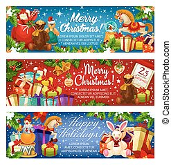 Merry Christmas holiday Santa gifts vector banners