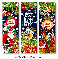 Merry Christmas holiday vector greeting banners