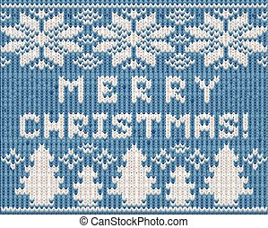 Merry Christmas holidays knitted wallpaper, vector illustration