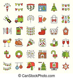 Merry Christmas icon set 3, filled outline editable stroke
