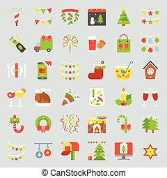 Merry Christmas icon set 3, flat design