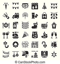 Merry Christmas icon set 3, glyph design