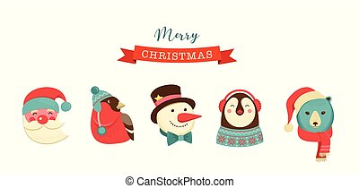 Merry Christmas icons, retro style elements and illustration, tags and labels