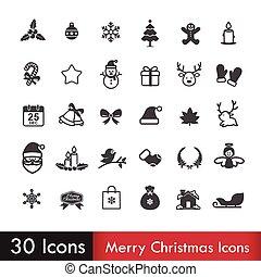 Merry christmas icons set isoleted on white background vector illustration