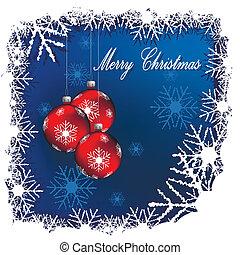 illustration, christmas red balls on blue background