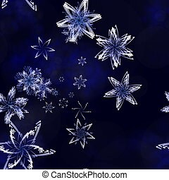 merry christmas - illustration of snow flakes on a blue icy ...