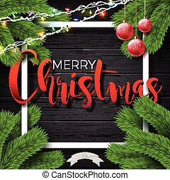 Merry Christmas Illustration on Vintage Wood Background with Typography and Holiday Elements, Vector EPS 10 design.