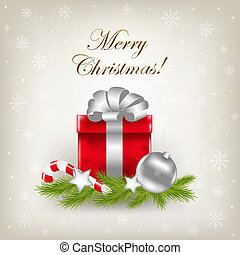 Merry Christmas Illustration With Gift