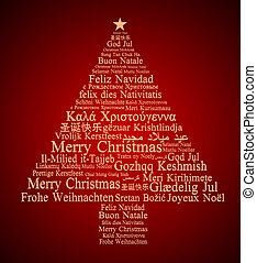 Merry Christmas in different languages forming a Christmas ...
