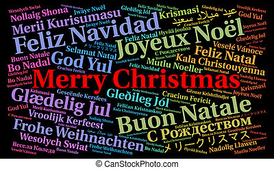 Merry Christmas in different languages word cloud