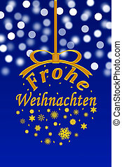 Merry Christmas in German, new year blue background