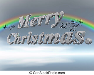 Merry Christmas in letters against sky. - Merry christmas...