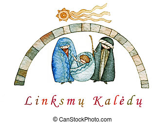 Merry Christmas in Lithuanian - illustration for Christmas ...