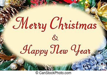 Merry Christmas in oval frame.