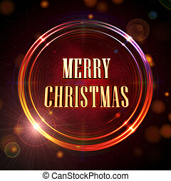 Merry Christmas in red shining golden rings