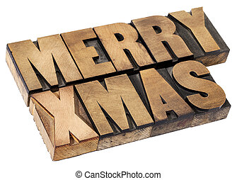 Merry Christmas in wood type